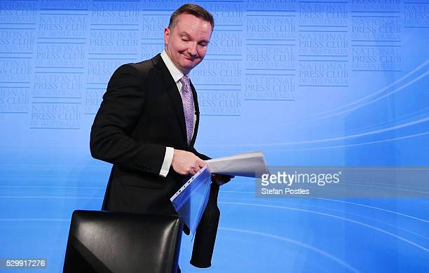 Opposition treasurer Chris Bowen leaves the stage after delivering his budget reply address at National Press Club on May 10 2016 in Canberra...