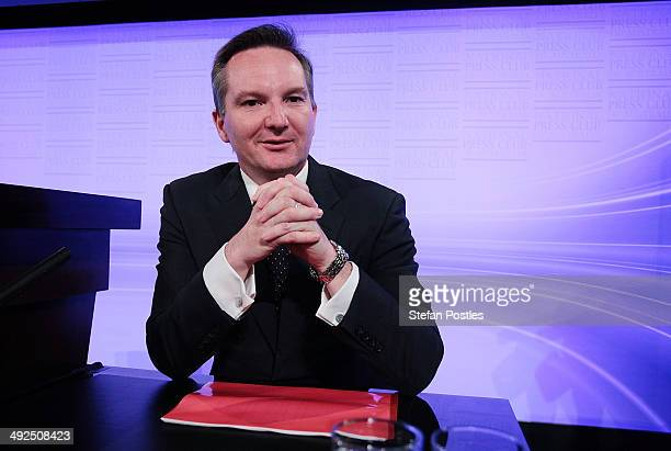 Opposition treasurer Chris Bowen prepares to deliver his budget reply address at the National Press Club on May 21 2014 in Canberra Australia Chris...