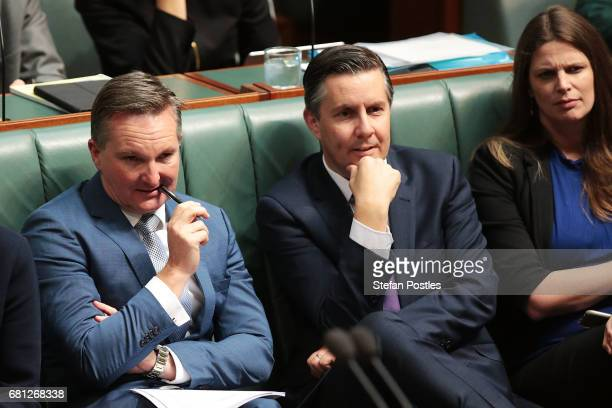 Opposition Treasurer Chris Bowen reacts to Prime Minister Malcolm Turnbull during question time at Parliament House on May 10 2017 in Canberra...