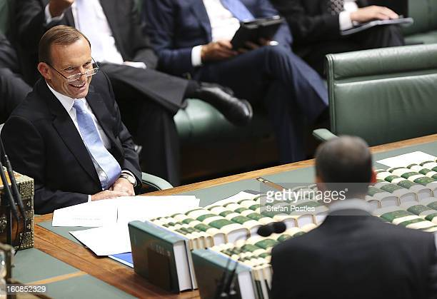 Oppostion leader Tony Abbott during House of Representatives question time at Parliament House on February 7 2013 in Canberra Australia Parliament...