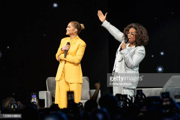 Oprah and Jennifer Lopez speak onstage during 'Oprah's 2020 Vision: Your Life in Focus Tour' presented by WW at The Forum on February 29, 2020 in...