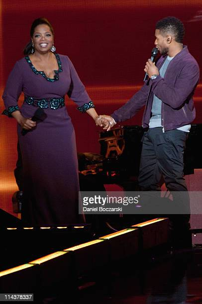Oprah and Usher attend Surprise Oprah! A Farewell Spectacular at the United Center on May 17, 2011 in Chicago, Illinois.