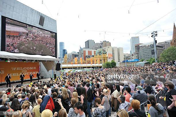 Oprah fans gather to catch a glimpse of Oprah Winfrey during a public event at Federation Square on December 10 2010 in Melbourne Australia Oprah...