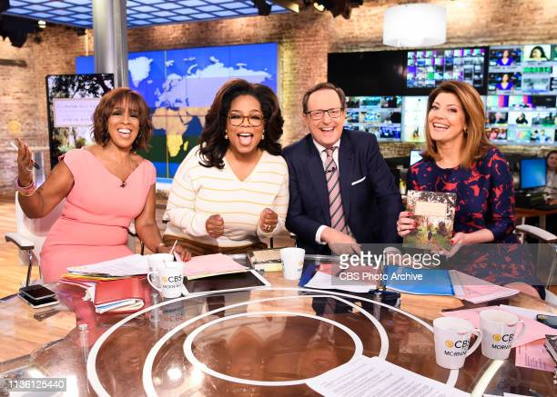 Oprah is interviewed LIVE on CBS This Morning discussing her new book The Path Made Clear Pictured L to R Gayle King Oprah Anthony Mason and Norah...