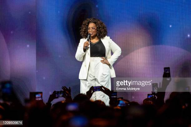 Oprah speaks onstage during 'Oprah's 2020 Vision: Your Life in Focus Tour' presented by WW at The Forum on February 29, 2020 in Inglewood, California.