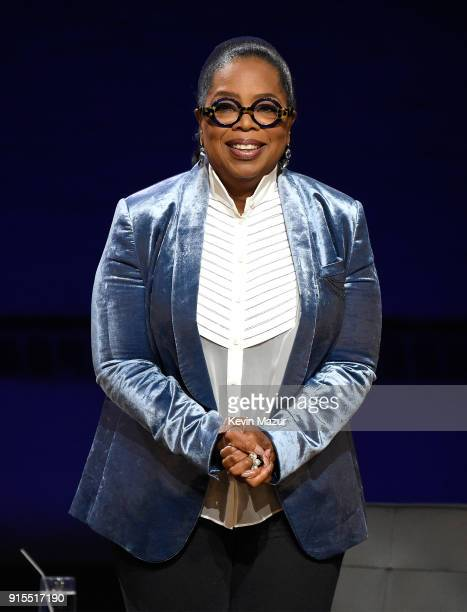 Oprah speaks onstage during 'Oprah's Super Soul Conversations' at The Apollo Theater on February 7 2018 in New York City