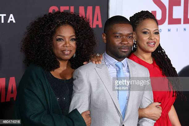 Oprah Winfrey actor David Oyelowo and director and executive producer Ava Duvernay attend the Selma New York Premiere at Ziegfeld Theater on December...