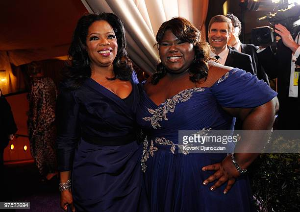 Oprah Winfrey and actress Gabourey Sidibe attend the 82nd Annual Academy Awards Governor's Ball held at Kodak Theatre on March 7 2010 in Hollywood...