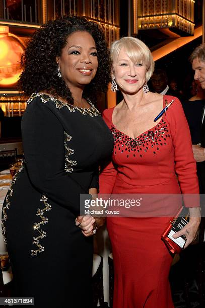 Oprah Winfrey and actress Helen Mirren attend the 72nd Annual Golden Globe Awards cocktail party at The Beverly Hilton Hotel on January 11 2015 in...
