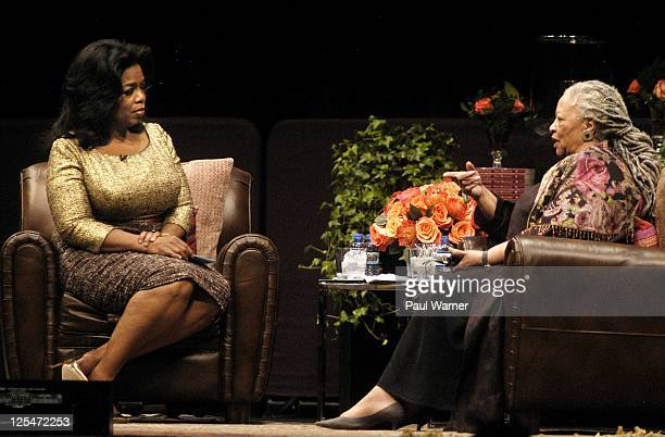Oprah Winfrey and author Toni Morrison attend the Carl Sandburg literary awards dinner at the University of Illinois at Chicago Forum on October 20...