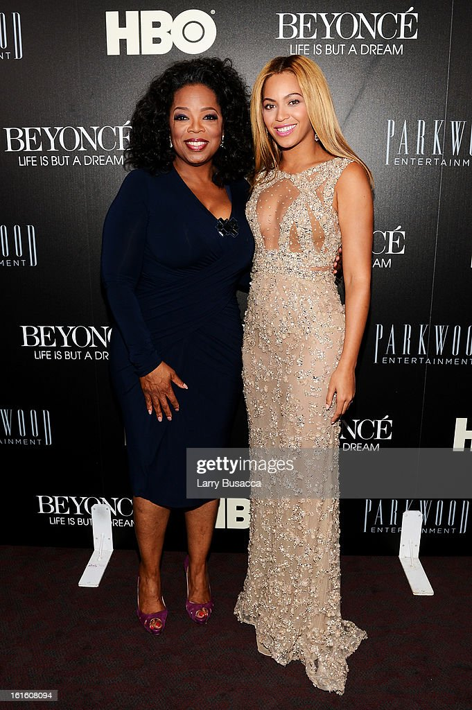Oprah Winfrey and Beyonce attend the HBO Documentary Film 'Beyonce: Life Is But A Dream' New York Premiere at the Ziegfeld Theater on February 12, 2013 in New York City.