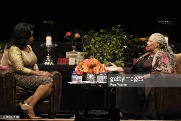 Oprah Winfrey and Carl Sandburg award winning author Toni Morrison attend the Carl Sandburg literary awards dinner at the University of Illinois at...