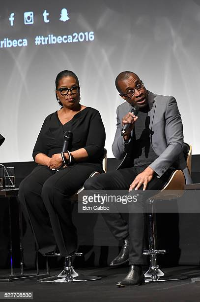 Oprah Winfrey and Clement Virgo speak on stage at the Tribeca Tune In Greenleaf at BMCC John Zuccotti Theater on April 20 2016 in New York City
