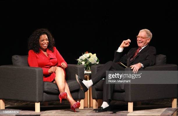 Oprah Winfrey and David Letterman attend a conversation with David Letterman and Oprah Winfrey at Emens Auditorium Ball State University on November...