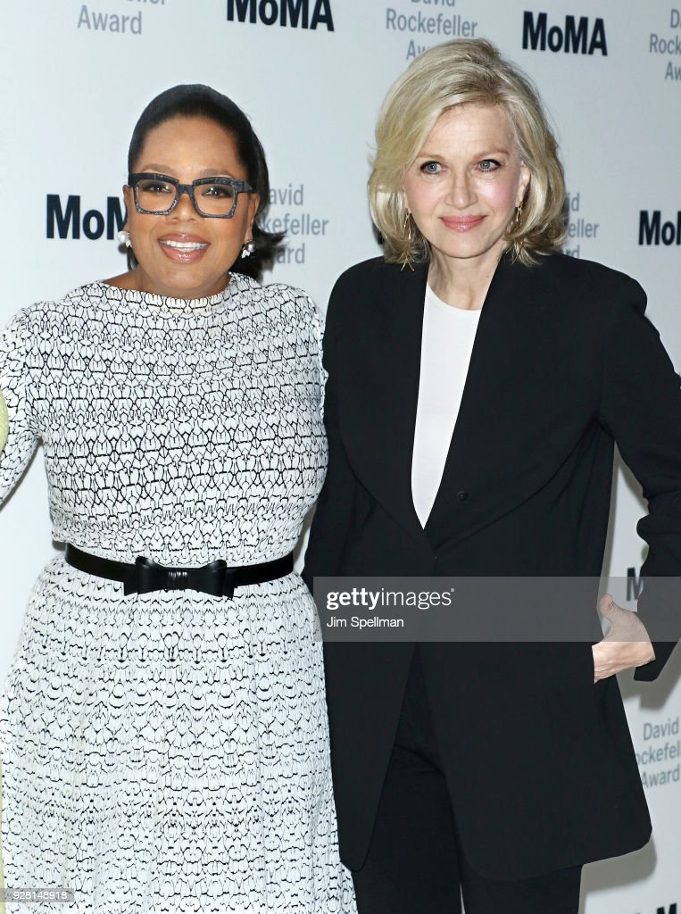 Oprah Winfrey and Diane Sawyer attend the 2018 MoMA David Rockefeller Award Luncheon Honoring Oprah at The Ziegfeld Ballroom on March 6, 2018 in New York City.