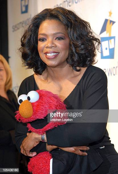 """Oprah Winfrey and Elmo during 2nd Annual """"Sesame Street"""" Workshop Gala at Cipriani's in New York City, New York, United States."""