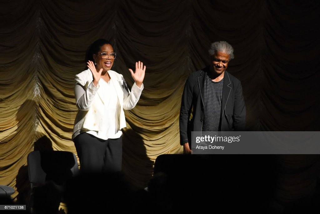 Oprah Winfrey and Elvis Mitchell attend the Film Independent at LACMA Special Screening and Q&A of 'The Life Of Henrietta Lacks' at Bing Theatre At LACMA on April 20, 2017 in Los Angeles, California.