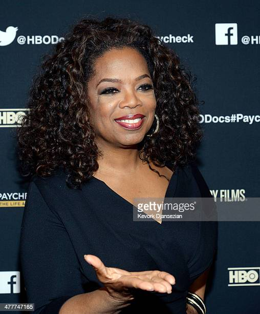 Oprah Winfrey and executive producer Maria Shriver attend the premiere of HBO Documentary Films' 'Paycheck To Paycheck' at Linwood Dunn Theater at...