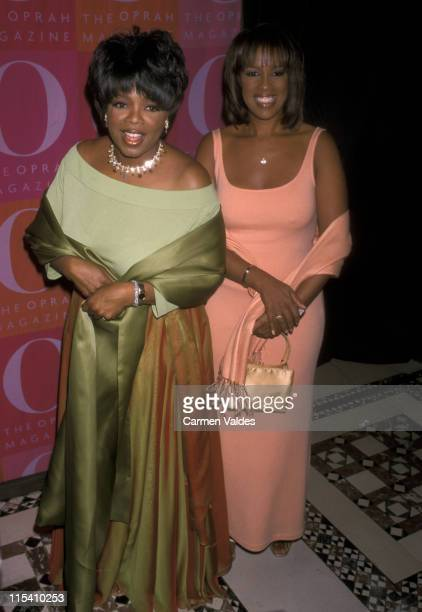 Oprah Winfrey and Gayle King during First Anniversary Celebration of O Magazine at Cipriani's in New York New York United States