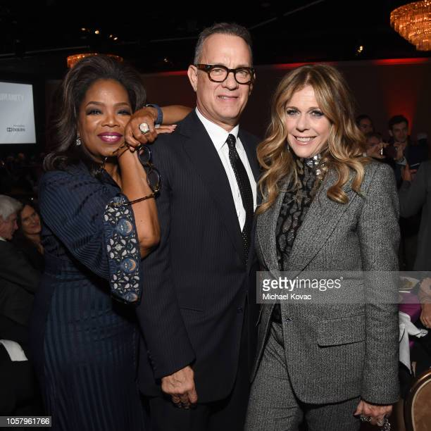 Oprah Winfrey and honorees Tom Hanks and Rita Wilson attend the Ambassadors For Humanity Gala Benefiting USC Shoah Foundation Honoring Rita Wilson...