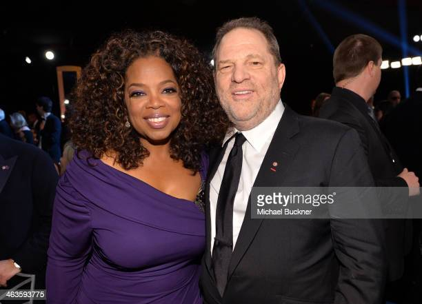 Oprah Winfrey and producer Harvey Weinstein attend the 20th Annual Screen Actors Guild Awards at The Shrine Auditorium on January 18 2014 in Los...