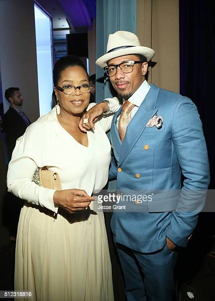 Oprah Winfrey and recording artist Nick Cannon attend the 2016 ESSENCE Black Women In Hollywood awards luncheon at the Beverly Wilshire Four Seasons...