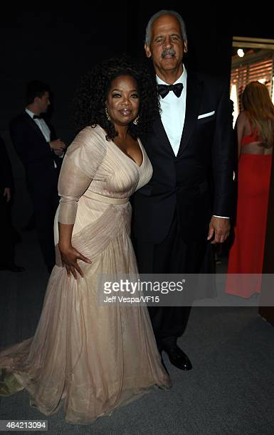 Oprah Winfrey and Stedman Graham attend the 2015 Vanity Fair Oscar Party hosted by Graydon Carter at the Wallis Annenberg Center for the Performing...