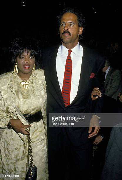 Oprah Winfrey and Stedman Graham during Mike Tyson vs Michael Spinks Fight at Trump Plaza June 27 1988 at Trump Plaza in Atlantic City New Jersey...