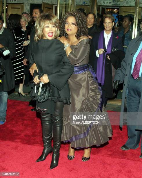 Oprah Winfrey and Tina Turner arrives at The Color Purple opening night in New York Dec I 2005 Photo by Frank Albertson/Gamma