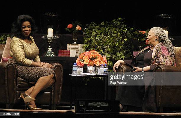 Oprah Winfrey and Toni Morrison attend the Carl Sandburg literary awards dinner at the University of Illinois at Chicago Forum on October 20 2010 in...