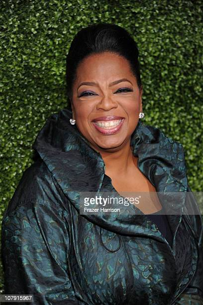 Oprah Winfrey arrives at OWN Oprah Winfrey Network's 2011 TCA Winter Press Tour Cocktail Party at the Horseshoe Gardens at the Langham Hotel on...