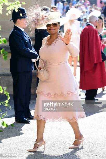 Oprah Winfrey arrives at St George's Chapel at Windsor Castle before the wedding of Prince Harry to Meghan Markle on May 19, 2018 in Windsor, England.