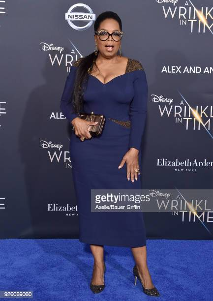 Oprah Winfrey arrives at the premiere of Disney's 'A Wrinkle In Time' at El Capitan Theatre on February 26 2018 in Los Angeles California