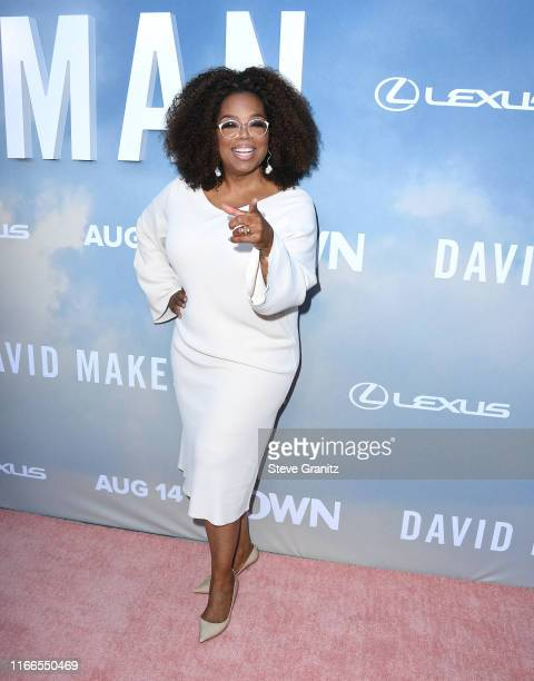 """Oprah Winfrey arrives at the Premiere Of OWN's """"David Makes Man"""" at NeueHouse Hollywood on August 06, 2019 in Los Angeles, California."""