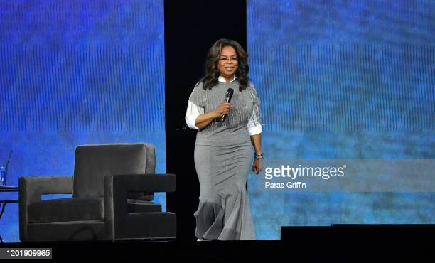 Oprah Winfrey arrives onstage during Oprah's 2020 Vision: Your Life in Focus Tour presented by WW at State Farm Arena on January 25, 2020 in Atlanta,...