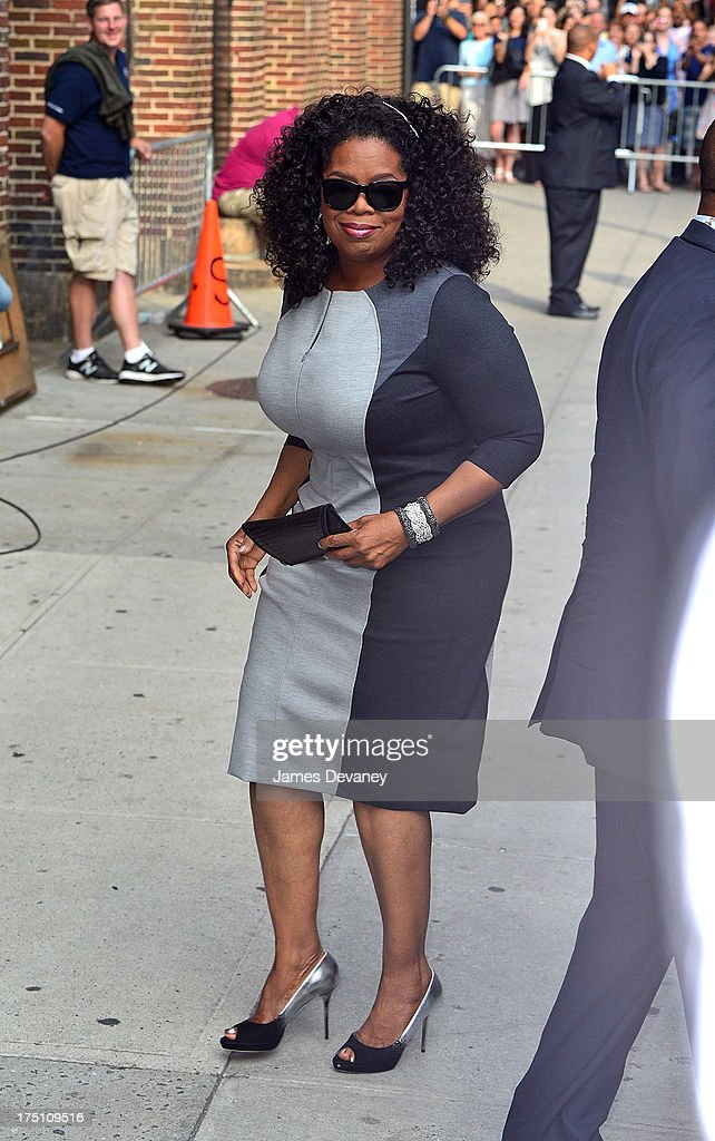 Oprah Winfrey arrives to the 'Late Show with David Letterman' at Ed Sullivan Theater on July 31, 2013 in New York City.