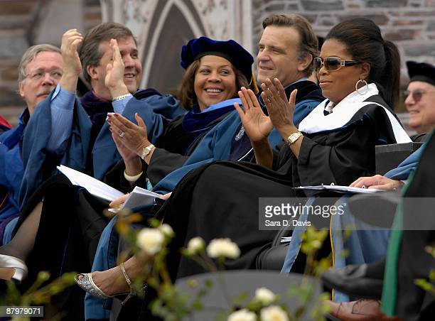 Oprah Winfrey claps for the 2009 graduating class during the commencement ceremony at Duke University on May 10 2009 in Durham North Carolina Winfrey...