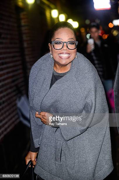 Oprah Winfrey enters 'The Late Show With Stephen Colbert' taping at the Ed Sullivan Theater on January 03 2017 in New York City