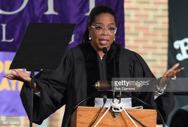 Oprah Winfrey give the Commencement Address at Agnes Scott College on May 13 2017 in Decatur Georgia