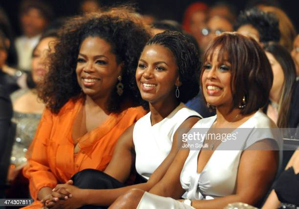 Oprah Winfrey guest and TV personality Gayle King attend the 45th NAACP Image Awards presented by TV One at Pasadena Civic Auditorium on February 22...