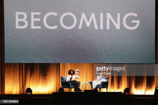 Oprah Winfrey interviews former first lady Michelle Obama as she kicks off her 'Becoming' arena book tour on November 13 2018 in Chicago Illinois In...