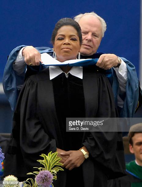 Oprah Winfrey is hooded as she receives her honorary doctor of humane letters degree at Duke University on May 10 2009 in Durham North Carolina...