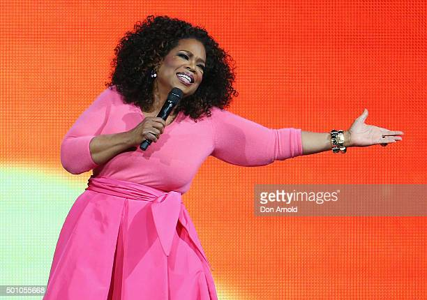 Oprah Winfrey is seen on stage during her 'An Evening With Oprah' tour at Allphones Arena on December 12 2015 in Sydney Australia