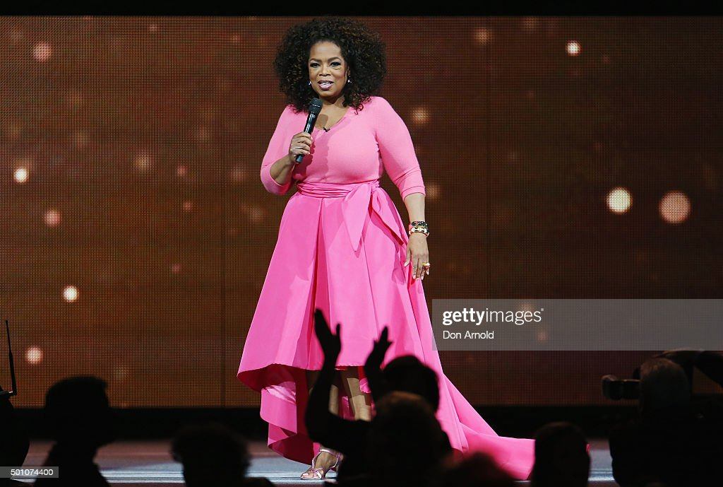 Oprah Winfrey is seen on stage during her 'An Evening With Oprah' tour at Allphones Arena on December 12, 2015 in Sydney, Australia.