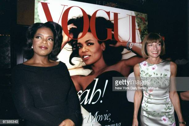 Oprah Winfrey joins Vogue editor Anna Wintour at party at Balthazar promoting the mag's October issue. That's Winfrey on the cover.,