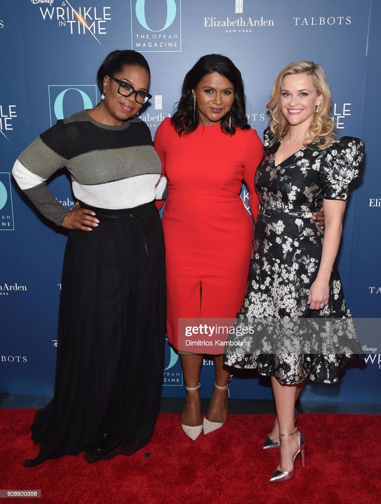 Oprah Winfrey, Mindy Kaling and Reese Witherspoon attend as O, The Oprah Magazine hosts special NYC screening of 'A Wrinkle In Time' at Walter Reade Theater at Walter Reade Theater on March 7, 2018 in New York City.