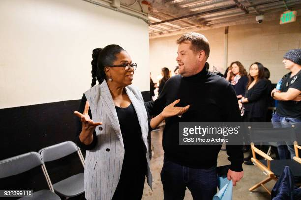 Oprah Winfrey performs in the sketch Wrinkle In Time 4D with James Corden during 'The Late Late Show with James Corden' Monday March 12 2018 On The...