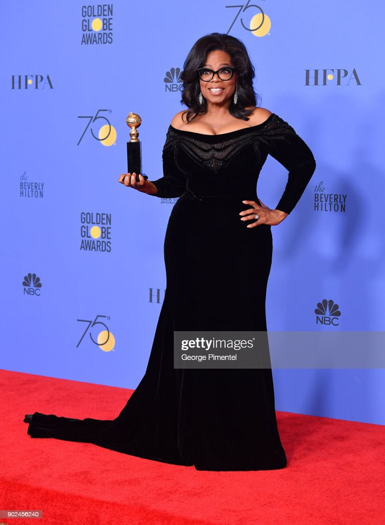 Oprah Winfrey poses with the Cecil B. DeMille Award in the press room during The 75th Annual Golden Globe Awards at The Beverly Hilton Hotel on January 7, 2018 in Beverly Hills, California.