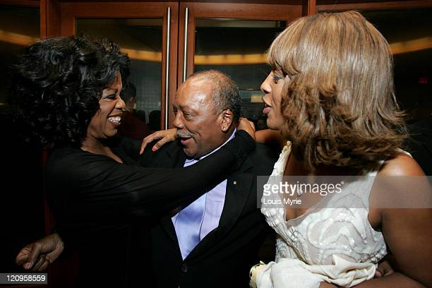 Oprah Winfrey, Quincy Jones and Gayle King during The United Negro College Fund Hosts An Evening of Stars Tribute to Quincy Jones - VIP Reception at...