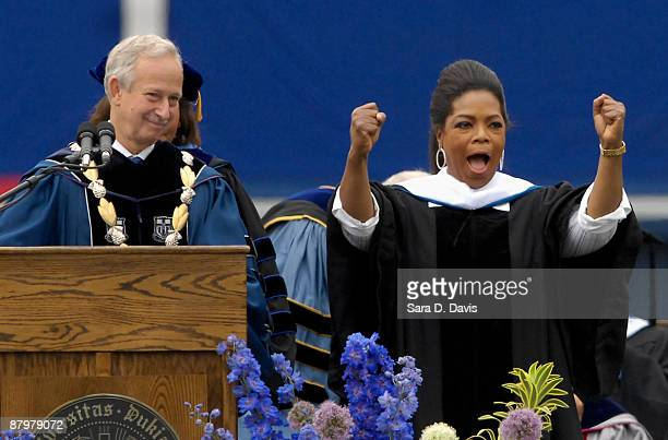 Oprah Winfrey reacts to receiving her honorary doctor of humane letters degree before her commencement speech at Duke University on May 10 2009 in...